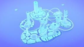 generalplan Framtida stadshorisont för begrepp Futuristiskt affärsvisionbegrepp illustration 3d vektor illustrationer