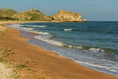 Generals beach at dawn. Karalar regional landscape park in Crimea. Generals beach at dawn. Karalar regional landscape park in the Crimea Stock Photo