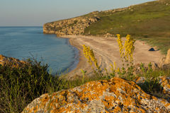 Generals beach at dawn. Karalar regional landscape park in Crimea. Stock Images