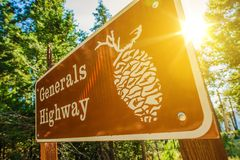 Generals Highway Sign. In Sequoia National Park, California, United States Royalty Free Stock Photography