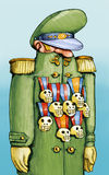 Generals and medals. A general has many skull-shaped medals Stock Image