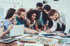 Generate Idea. Spend Brainstorming. Teamwork. Generate Idea. Spend Brainstorming. Teamwork Young Designers Different Races Project Cooperation Group Work Table stock photography