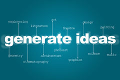 Generate ideas for creativity. The text generate ideas on a blue background, about the indication of different types of creativity for each letter Stock Photos