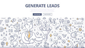 Generate Leads Doodle Concept. Doodle illustration of generating leads using such channels as: e-mail, website, networking, social media, influencer marketing royalty free illustration
