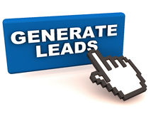 Generate leads. Lead generation text on an a blue button on white background, hand icon trying to click the button to get started Royalty Free Stock Photography