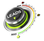 Generate More Leads. Leads switch button positioned on maximum, white background and green light. Conceptual image for leads generation illustration Stock Photography