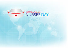 Generated image nurse cap on light blue background. Stock Photo