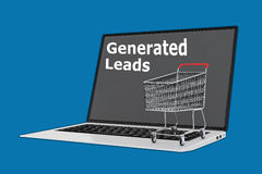Generated Leads concept. Render illustration of Generated Leads concept with a supermarket cart placed on the keyboard Royalty Free Stock Image