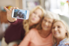 Generatie drie van vrouwen Stock Foto's
