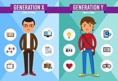 Generatie X, Generatie Y - beeldverhaalkarakter Royalty-vrije Stock Foto