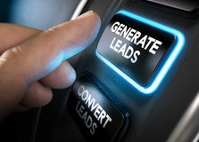 Generating and Converting Sales Leads. Hand about to press a generate leads button with blue light over black background. Concept of lead management. Composite Stock Photo