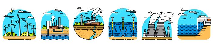 Generating energy. Power plants icons. Industrial buildings. Set of Ecological sources of electricity. Generating energy. Power plants icons. Industrial vector illustration