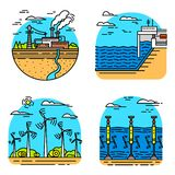 Generating energy. Power plants icons. Industrial buildings. Set of Ecological sources of electricity. Generating energy. Power plants icons. Industrial royalty free illustration