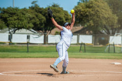 Generating power for the fast ball. royalty free stock photos