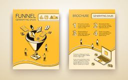 Generating sales presentation pages vector layout. Funnel generating sales, business marketing brochure, poster or booklet isometric line art vector template or vector illustration