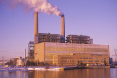 Generating Station. The Bergen Generating Station of the Public Service Electric and Gas Company in Ridgefield, New Jersey stock photography