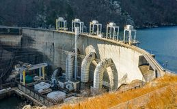Generating Units at Smith Mountain Hydroelectric Dam Lake. Sandy Level, VA – January 8th:the power generating units at Smith Mountain Hydroelectric Dam royalty free stock photo