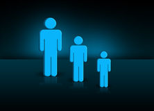 Generation. Illustration of generation with three different sized people Stock Photo