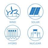 Generation energy types. Power plant icons  set Stock Image