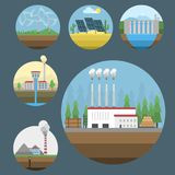 Generation energy types power plant icons vector renewable alternative solar wave illustration Royalty Free Stock Photos