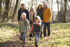 3 Generation family on country walk in winter Stock Images