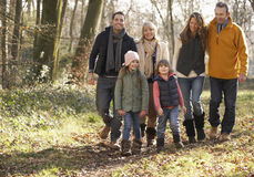 3 Generation family on country walk in winter Stock Photography