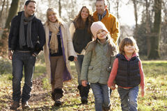 3 Generation family on country walk in winter royalty free stock images
