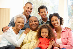 3 Generation family at home stock photography