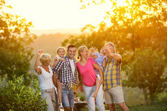 Generation family on vacation posing together. Concept Stock Images