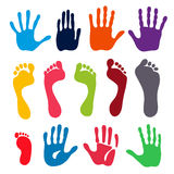 Generation hand and foot prints Stock Photos