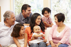 3 generation Hispanic family at home Royalty Free Stock Image