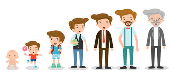 Generation of man from infants to juniors. all age categories. isolated on white background, generation of men from infants to sen Stock Photo