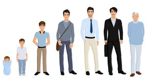 Generation man set. Different generation aging men set isolated on white background vector illustration Stock Photos