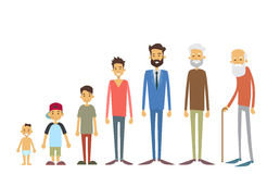 Generation Of Men From Young Infant To Old Senior Age. Concept Vector Illustration Stock Photos