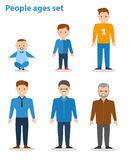 Generation Of Men From Young Infant To Old Senior Age. Flat illustration Stock Photos