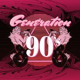 Generation 90`s. Vector poster with hand drawn illustration of triron made in vaporwave style. Template for card, banner, print for t-shirt, pin, badge, patch royalty free illustration
