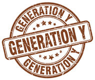 Generation y brown stamp Stock Photography