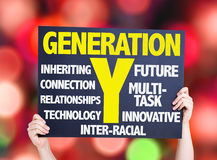 Generation Y card with bokeh background Stock Photos