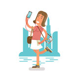 Generation Y, Millennial in a cityscape with phone and earphones. Flat vector illustration showing girl with a phone in a hand, listening music in earphones Royalty Free Stock Image