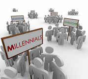 Generation X Y Millennials Young People Groups Demographic Marke. Generation X, Y and Millenials gathered around signs to illustrate networks or audiences of Stock Photography