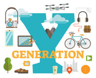 Generation Y. Scene with large title and various illustrated objects creating one complete composition Royalty Free Stock Images