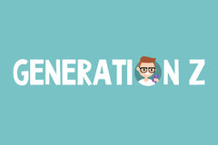 Generation Z concept sign. Young millennial nerd Royalty Free Stock Photos