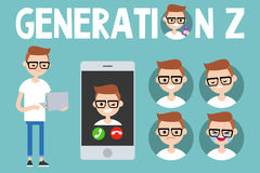 Generation Z conceptual set. sign, full length millennial character Stock Photography