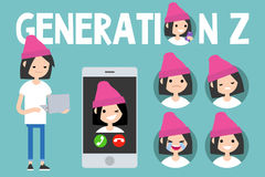 Generation Z conceptual set. sign, full length millennial girl Stock Images