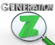 Generation Z 3d Words Magnifying Glass Finding Searching Youth. Generation Z word in 3d letters under a magnifying glass to illustrate searching for and finding Royalty Free Stock Photos