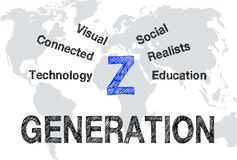 Generation Z. Marketing or target group with world map in the background stock illustration