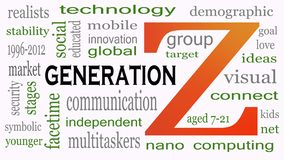 Generation Z in word collage. Marketing and targeting concept stock illustration