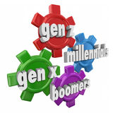 Generation Z Y X Boomers Millennials 3d Word Gears Demographics. Generation X Y Z, Millennials and Boomers words in 3d letters on gears to illustrate different Royalty Free Stock Photos