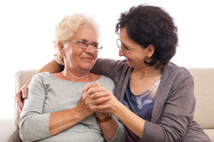 Generations daughter loving old mother Royalty Free Stock Images