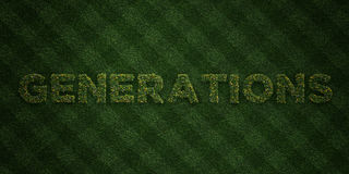 GENERATIONS - fresh Grass letters with flowers and dandelions - 3D rendered royalty free stock image Stock Image